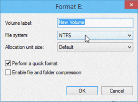 format in Disk Management