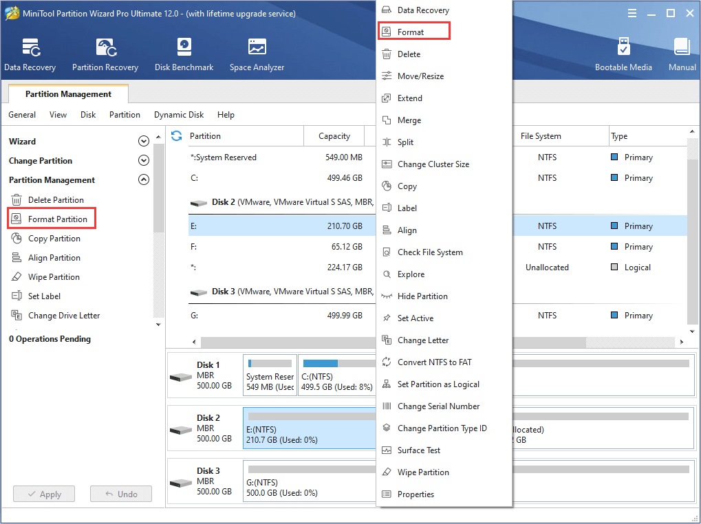 activate Format Partition feature