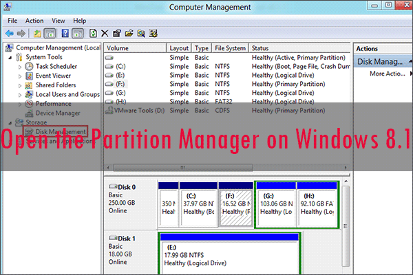 open the partition manager on Windows 8.1