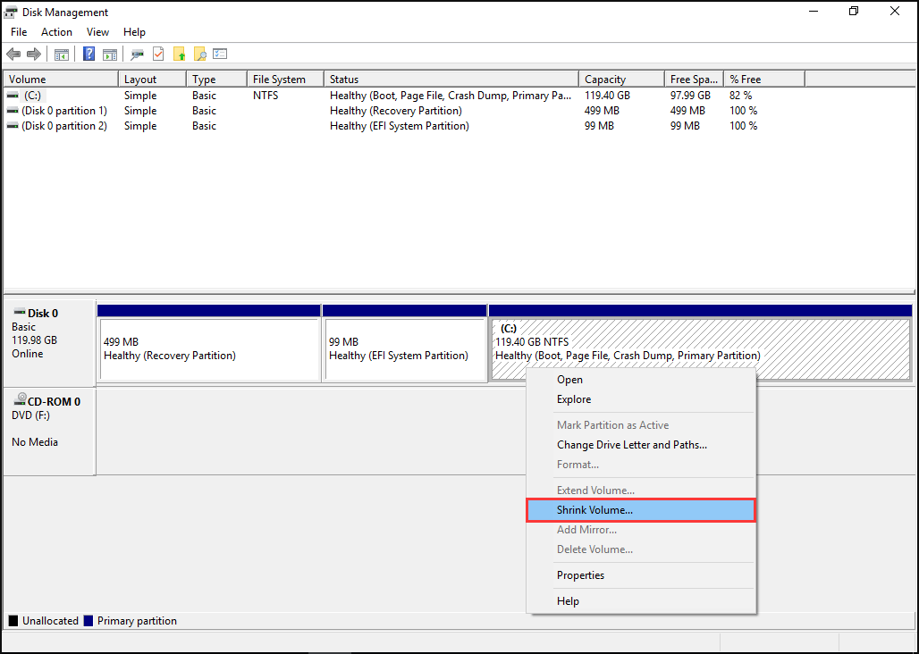 shrink volume C Disk Management