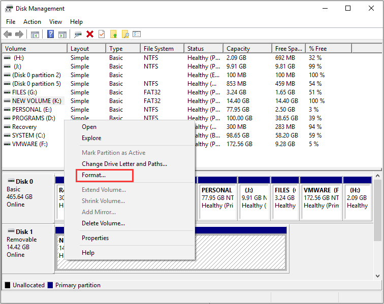 format partition with Disk Management