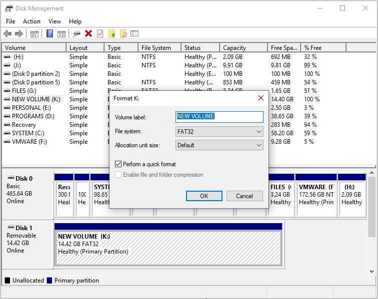 set file system and volume label