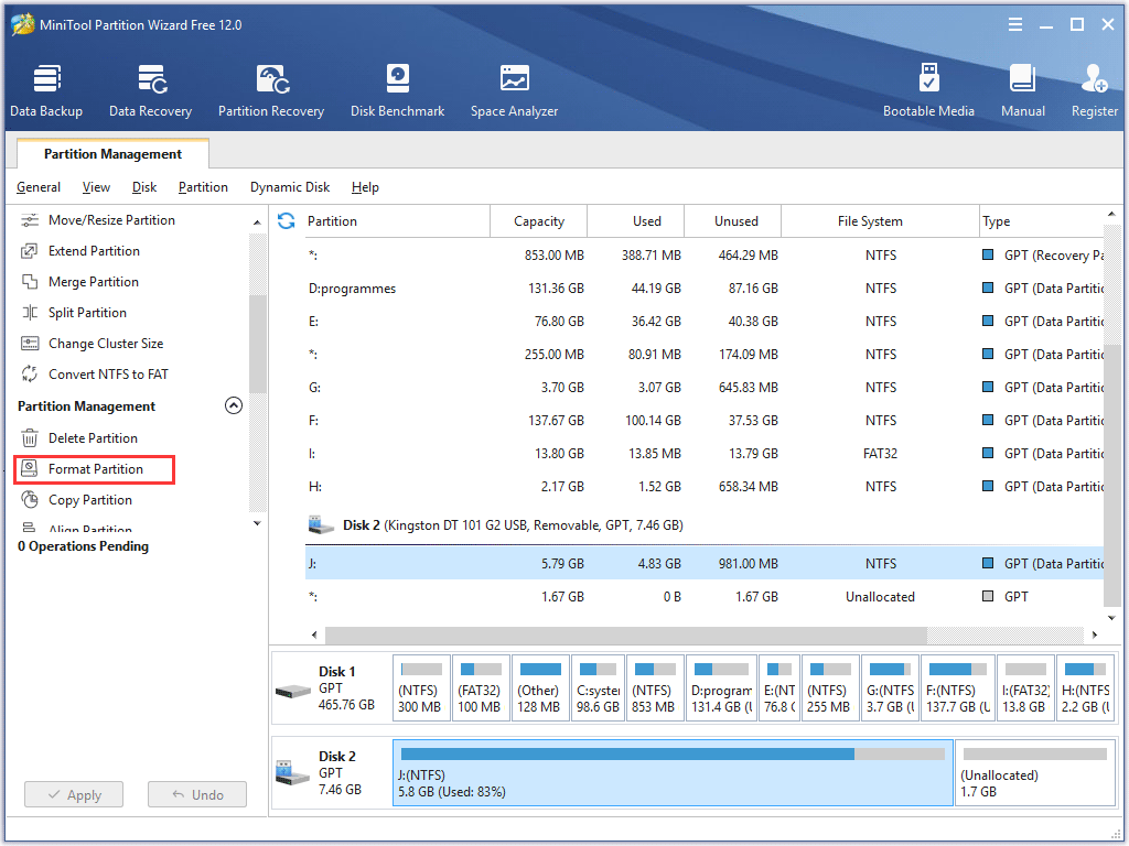 choose Format partition in MiniTool Partition Wizard