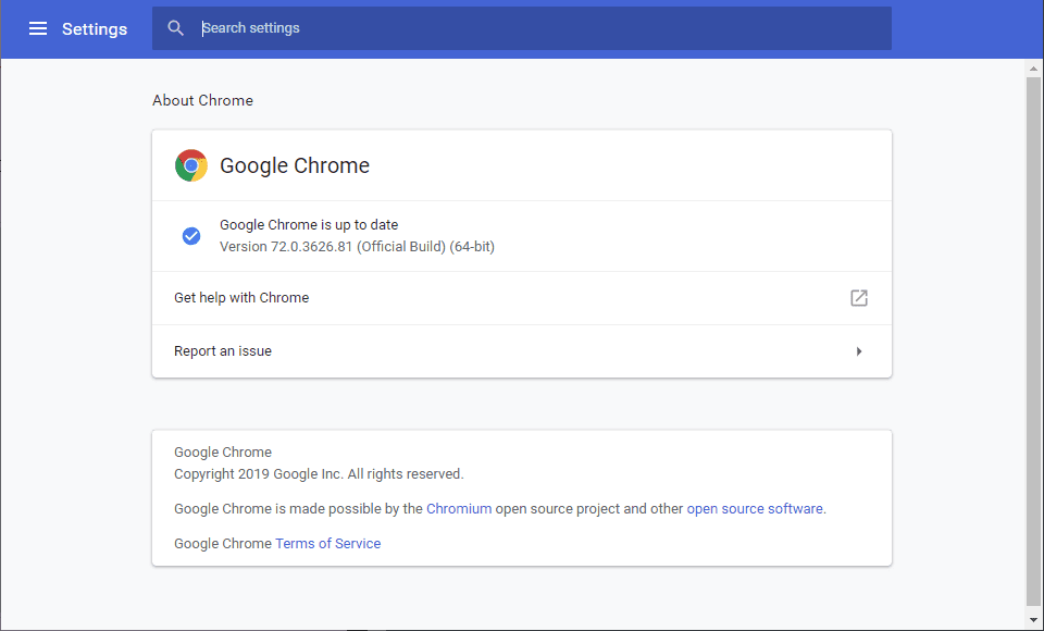 update to the latest version of Google Chrome