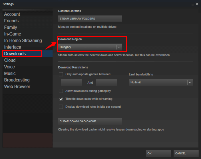 change download region
