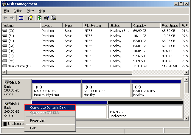 choose Convert to Dynamic Disk