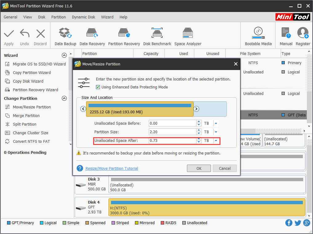reserve space for new partition
