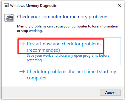 choose the recommended check for memory problems option