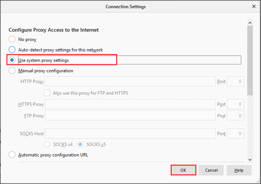 use system proxy settings