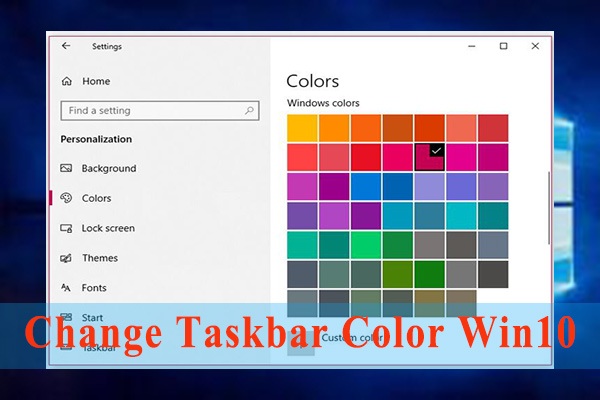 change taskbar color Windows 10