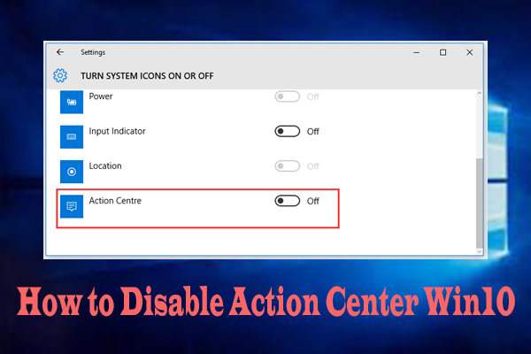 disable action center win10 thumbnail