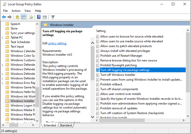 Turn off logging via package settings