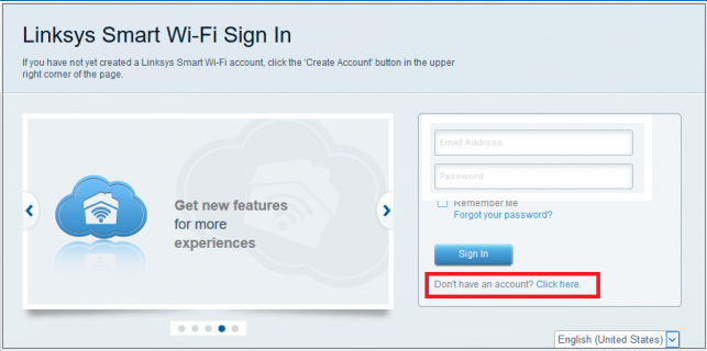 the sign-in page of Linksys router
