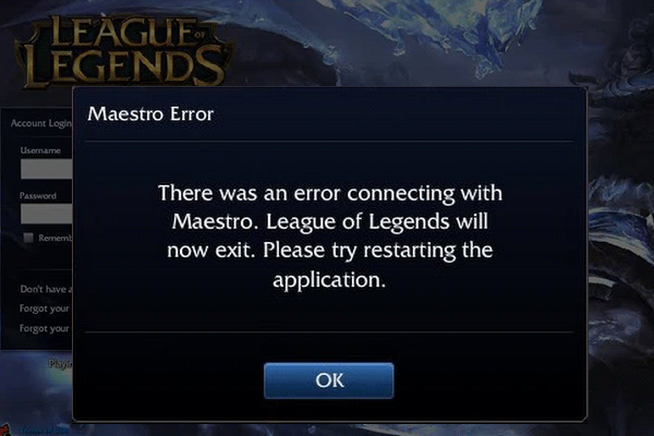 League of Legends Maestro error
