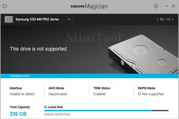 Samsung Magician this drive is not supported