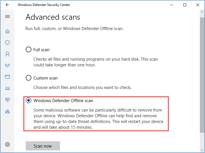 perform Windows Defender Offline scan