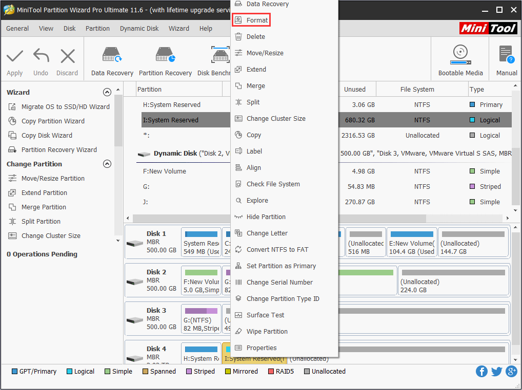 format with MiniTool Partition Wizard