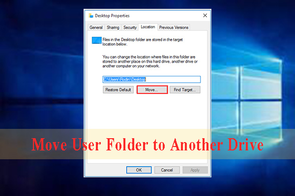 Windows 10 move user folder to another drive