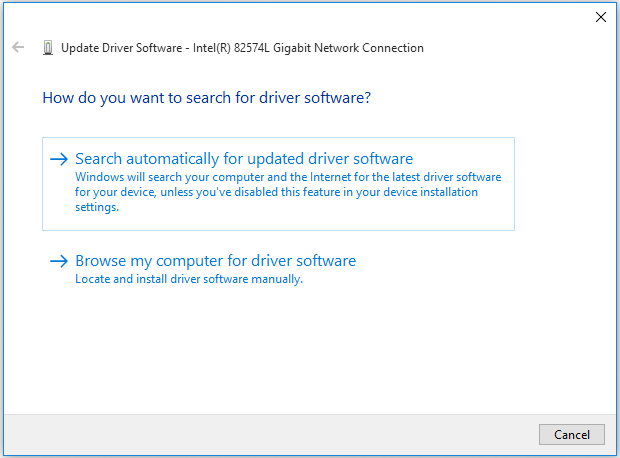 select the way to update your network adapter driver