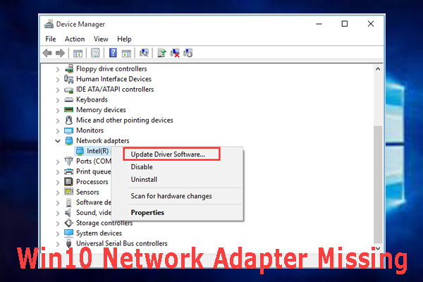 win10 network adapter missing thumbnail