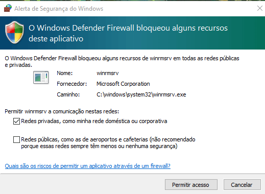 Windows defender blocks winrmsrv.exe