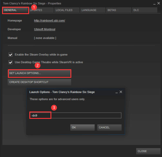 change launch settings for a certain game