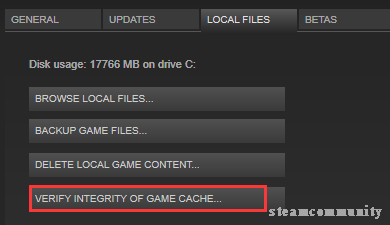 click on VERIFY INTERITY OF GAME FILES option