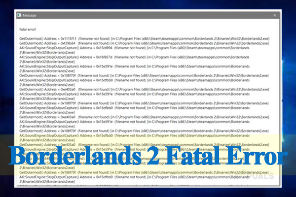 Borderlands 2 fatal error