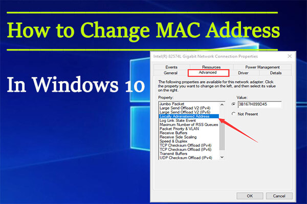 change MAC address Windows 10