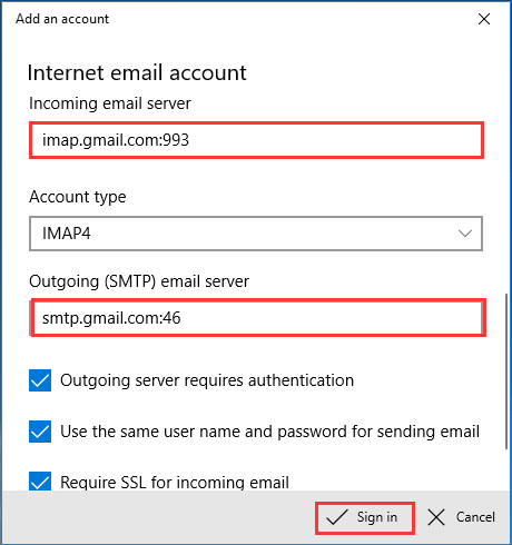 fill the account information
