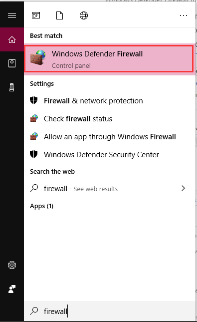 select Windows Defender Firewall