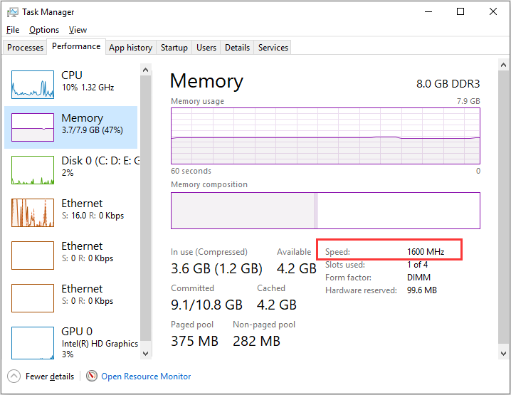 check RAM speed in Task Manager