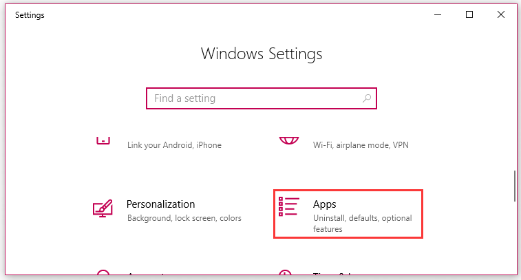 click on Apps in the Settings window