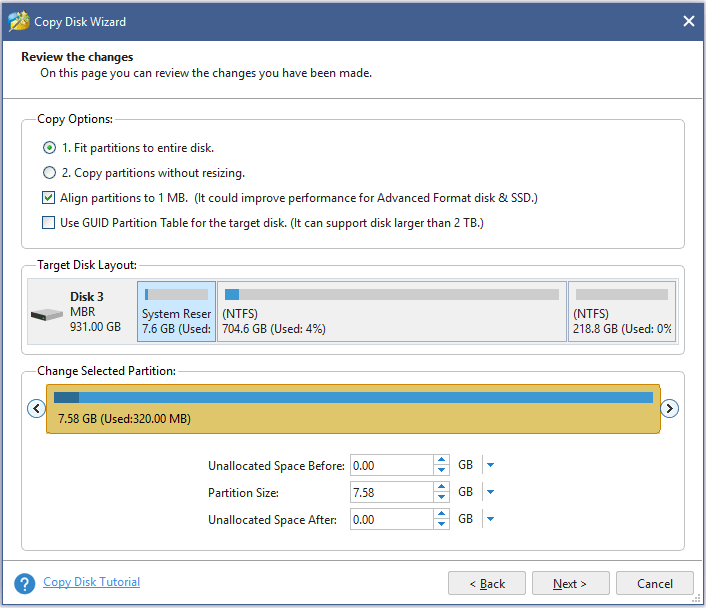 select partition options