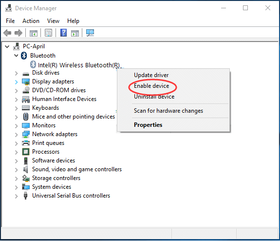 enable Bluetooth driver
