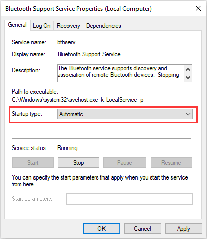 enable Bluetooth service