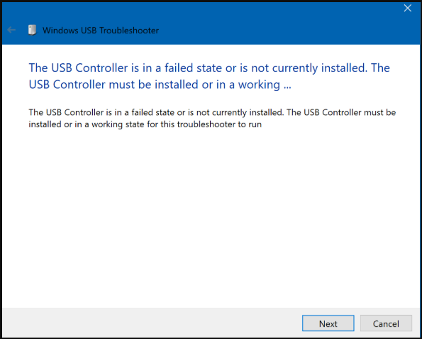 USB controller in a failed state