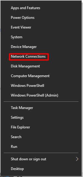 choose network connections from the menu