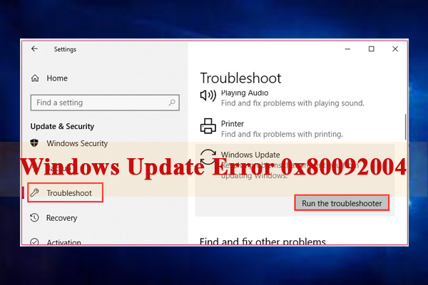 Windows Update error 0x80092004