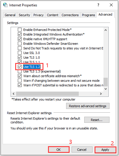 check Use TLS 1.2 and save the settings