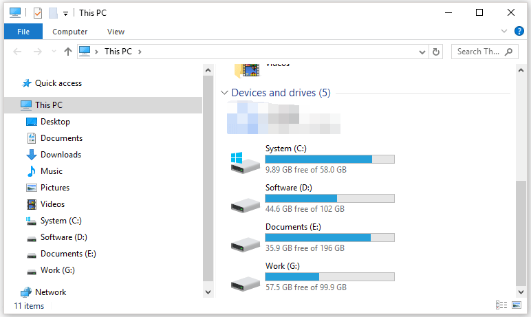 check free hard drive space in File Explorer