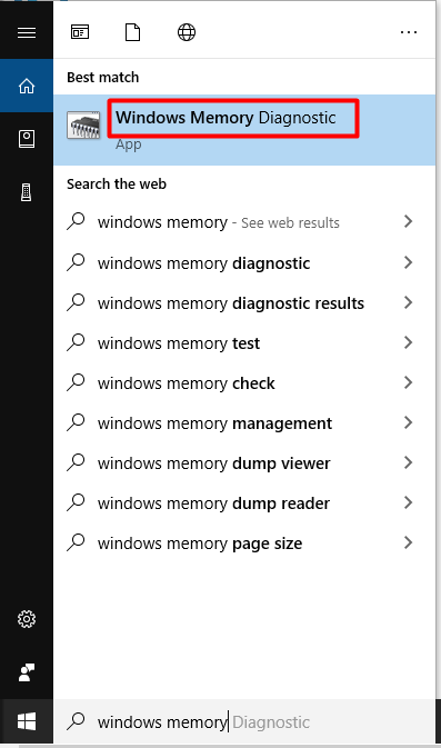 open Windows Memory Diagnostic tool from the search box
