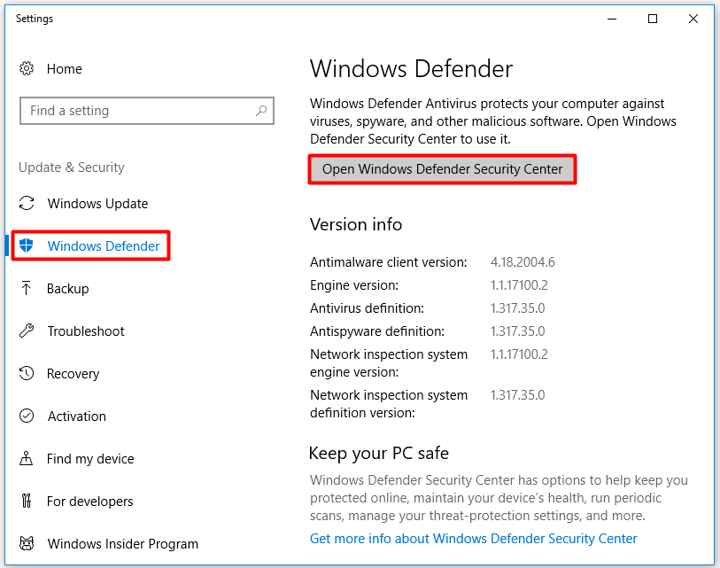 click on the Open Windows Defender Security Center option