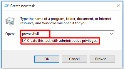 check the Create this task with administrative privileges checkbox