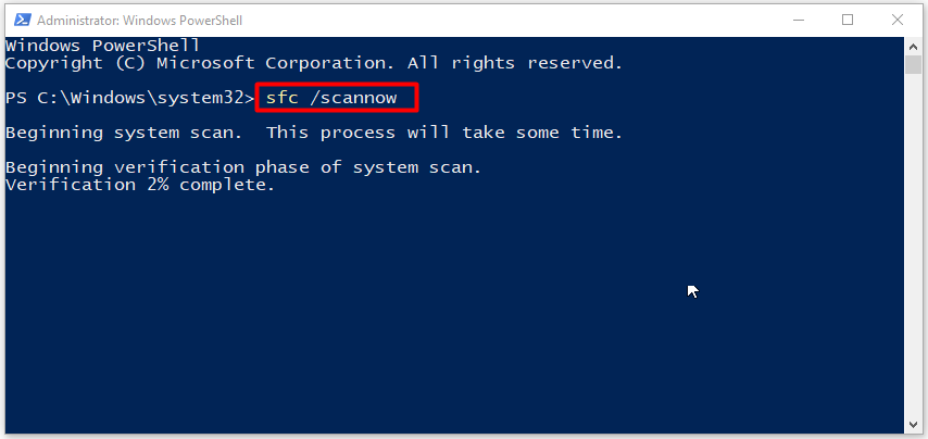 type and run the SFC scannow command