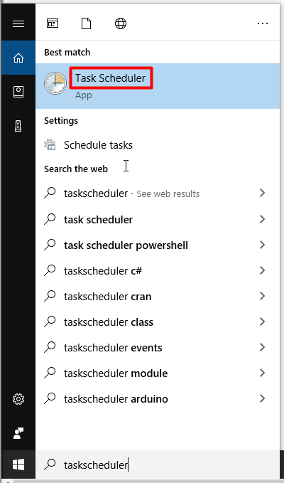 open task scheduler from the search box