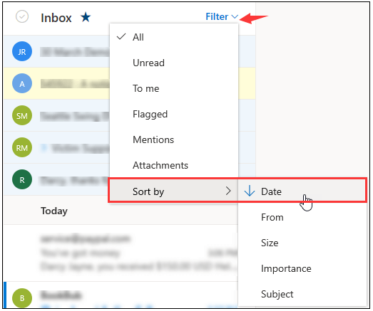 sort by date in Outlook inbox