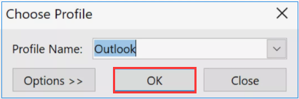 select new Outlook profile