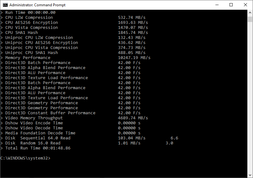 run system memory performance assessment via cmd