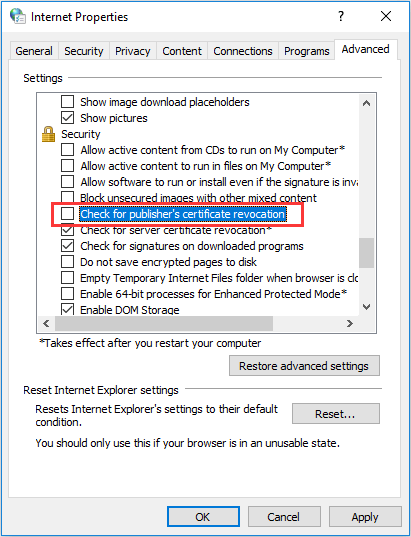 disable check for publisher's certificate revocation setting